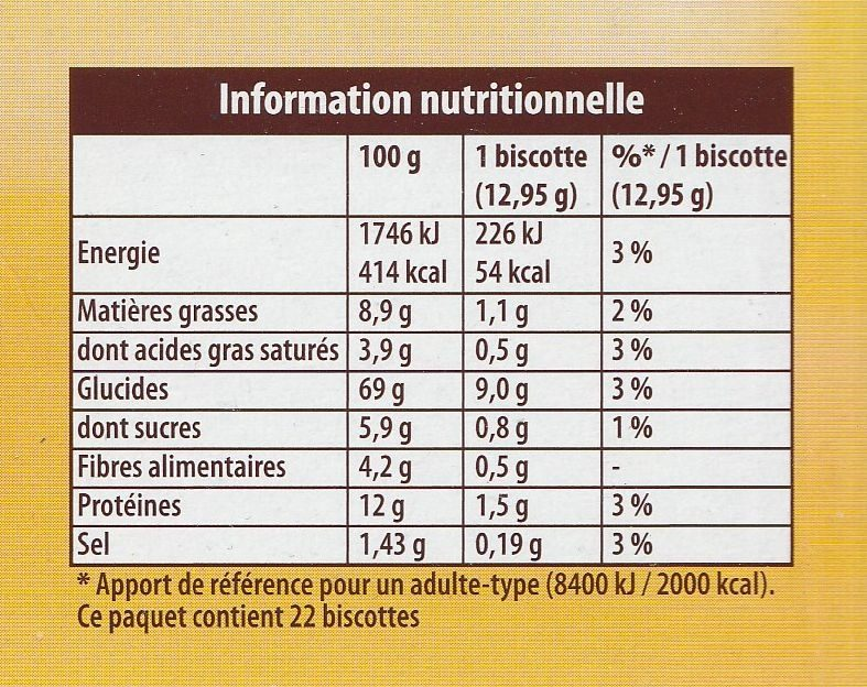 La Gourmande Tradition - Nutrition facts