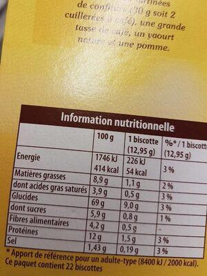 Biscottes - Voedingswaarden - fr