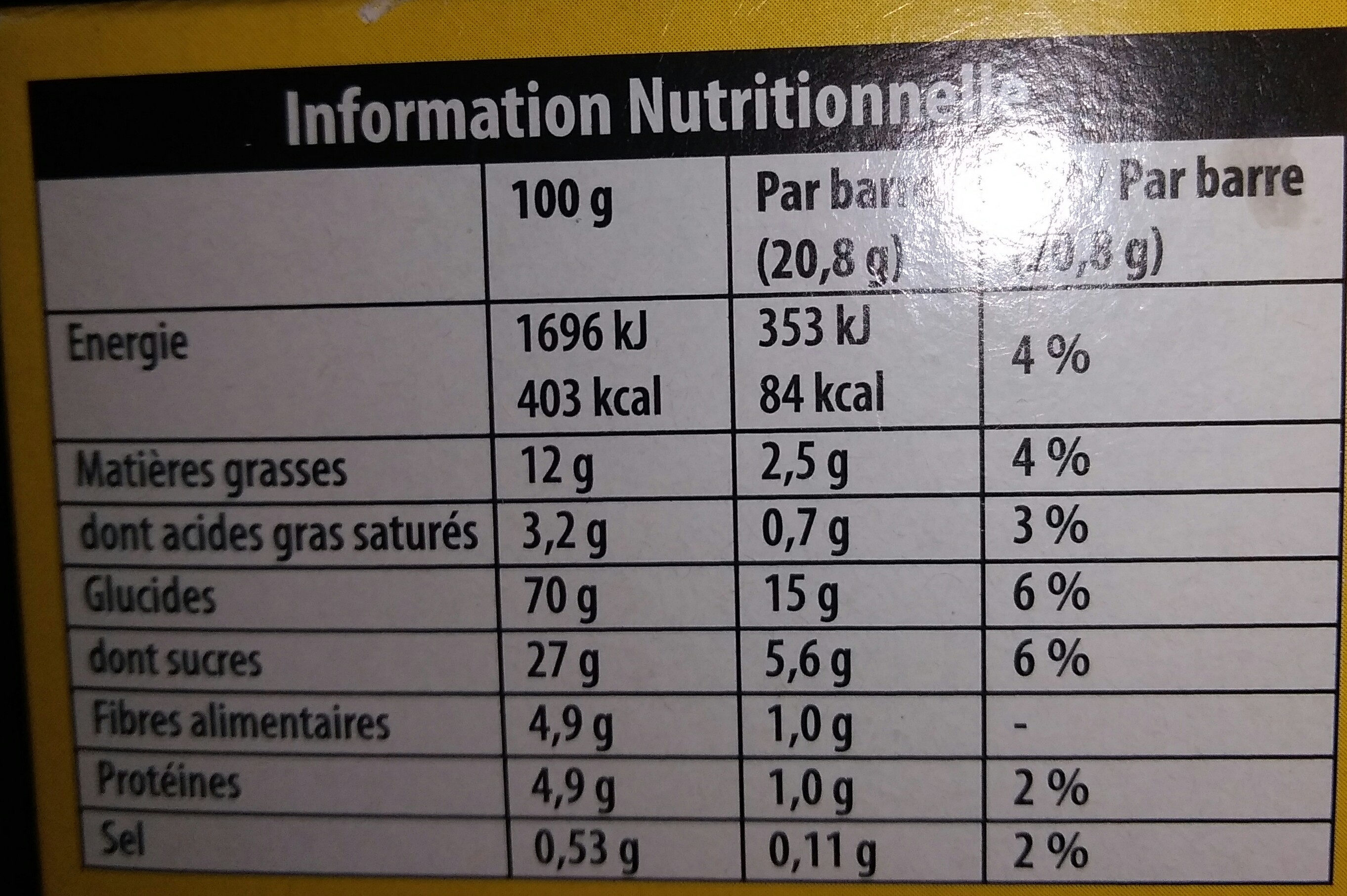 Grany Pomme - Nutrition facts