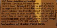 Grany céréales chocolat - Ingrédients - fr