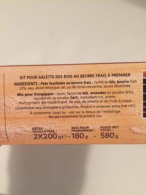 Kit complet Galette des Rois - Ingrediënten - fr