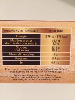 Kit complet Galette des Rois - Voedingswaarden - fr