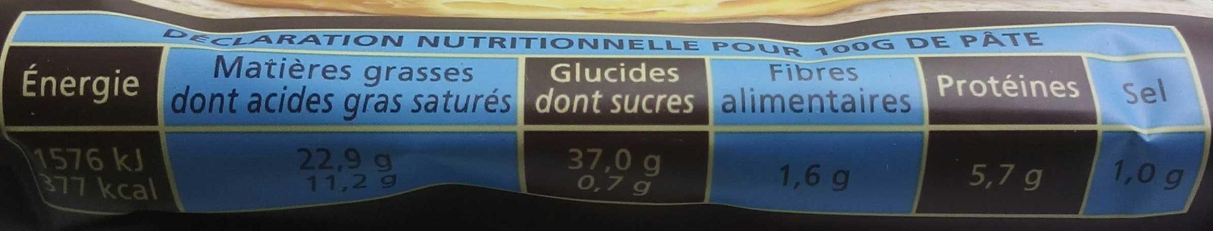 Pâte feuilletée sans additif - Voedingswaarden - fr