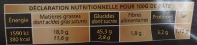 Pâte brisée sans additif - Nutrition facts