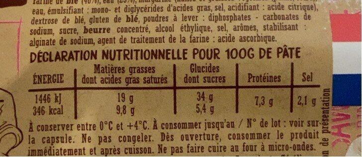 Croissants (x 4) - Informations nutritionnelles - fr