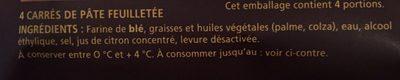 4 carrés de pâte feuilletée CROUSTIPATE - Ingrédients - fr