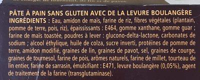 Pâte à pain sans gluten - Ingrédients - fr