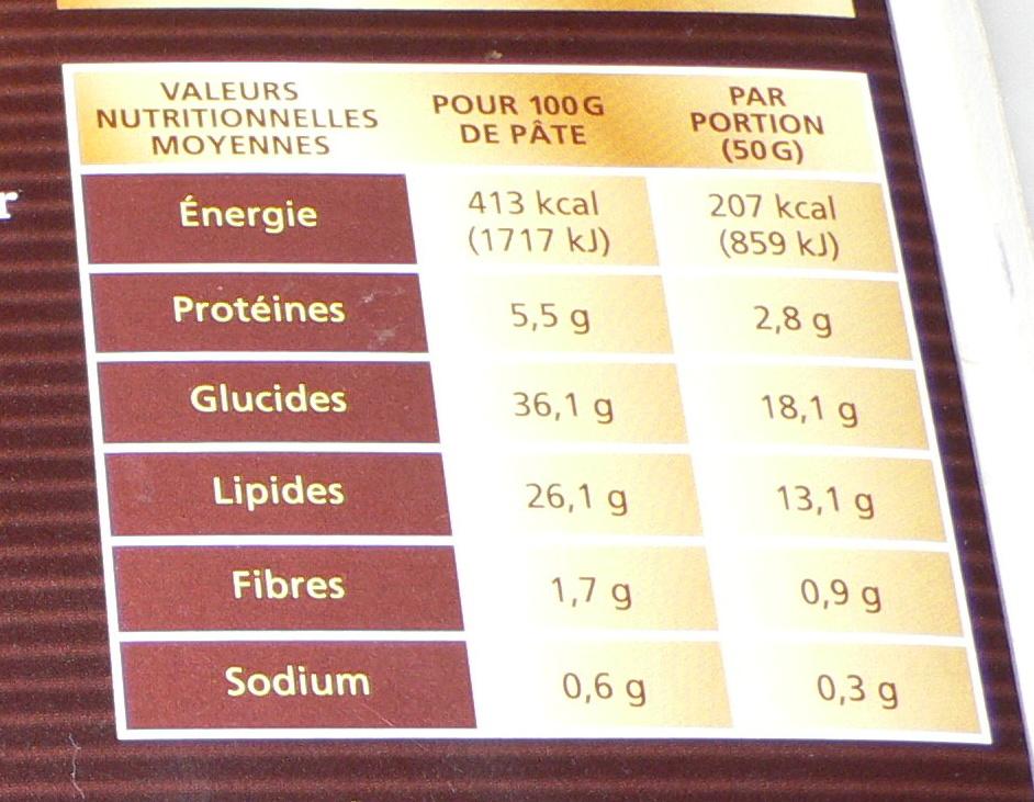4 Carrés Feuilletés - Informations nutritionnelles