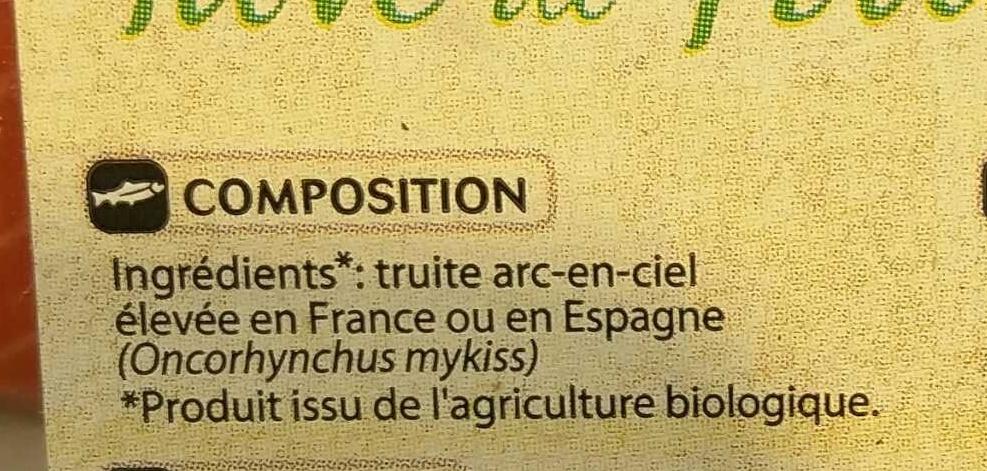 Pavé de Truite Bio - Ingrediënten - fr