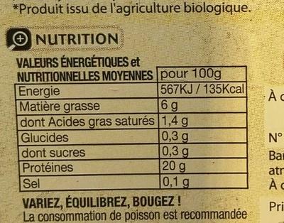 Pavé de Truite Bio - Voedingswaarden - fr