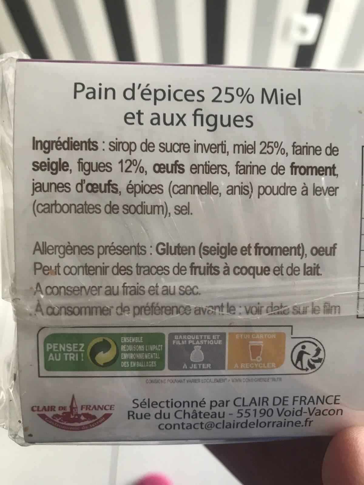 Pain d'épices au miel et figues - Ingrediënten