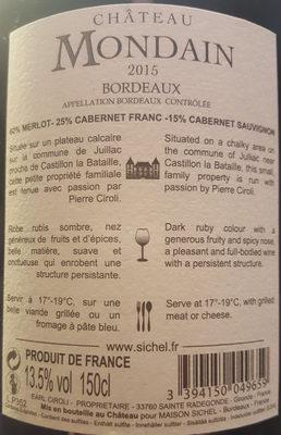 Vin de Bordeaux Chateau Mondain - Ingredients