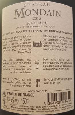 Vin de Bordeaux Chateau Mondain - Nutrition facts