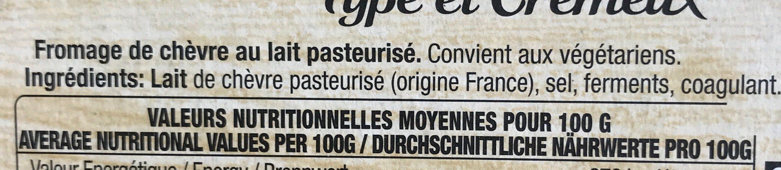 Le Chèvre - Ingrédients - fr