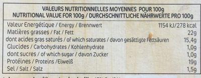 Le Chèvre - Nutrition facts