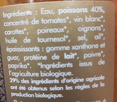 Soupe de poissons 40% bio - Ingredientes - fr