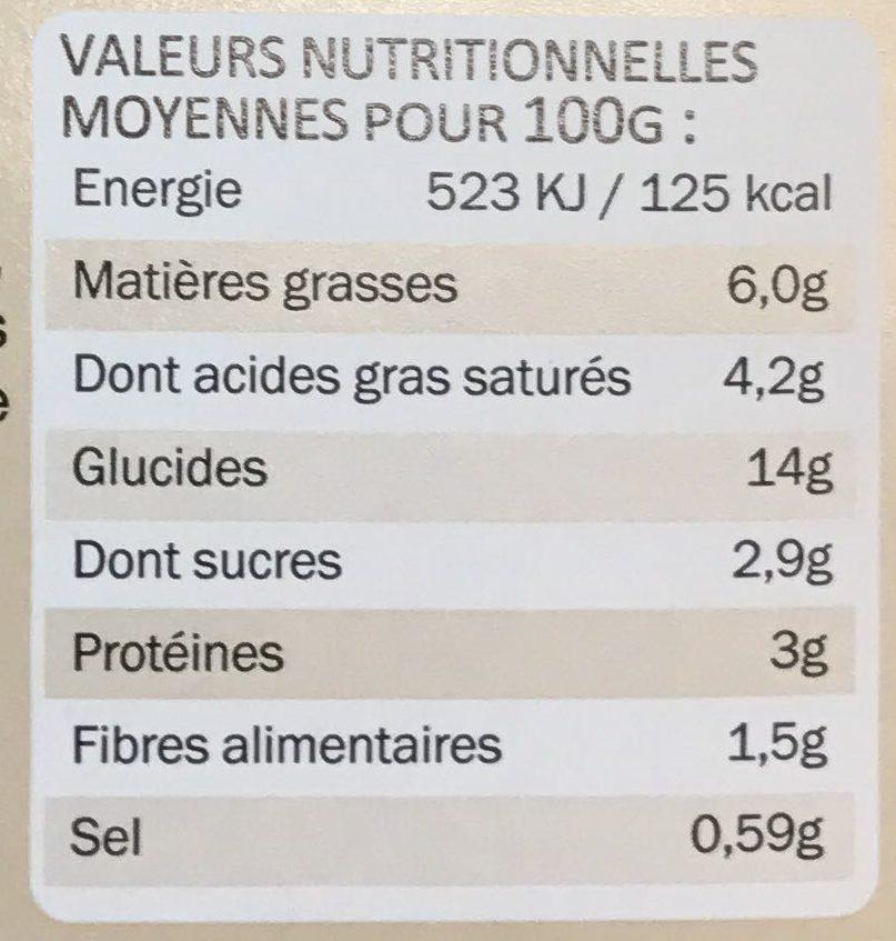 Gratin Savoyard à l'emmental de Savoie - Informations nutritionnelles - fr