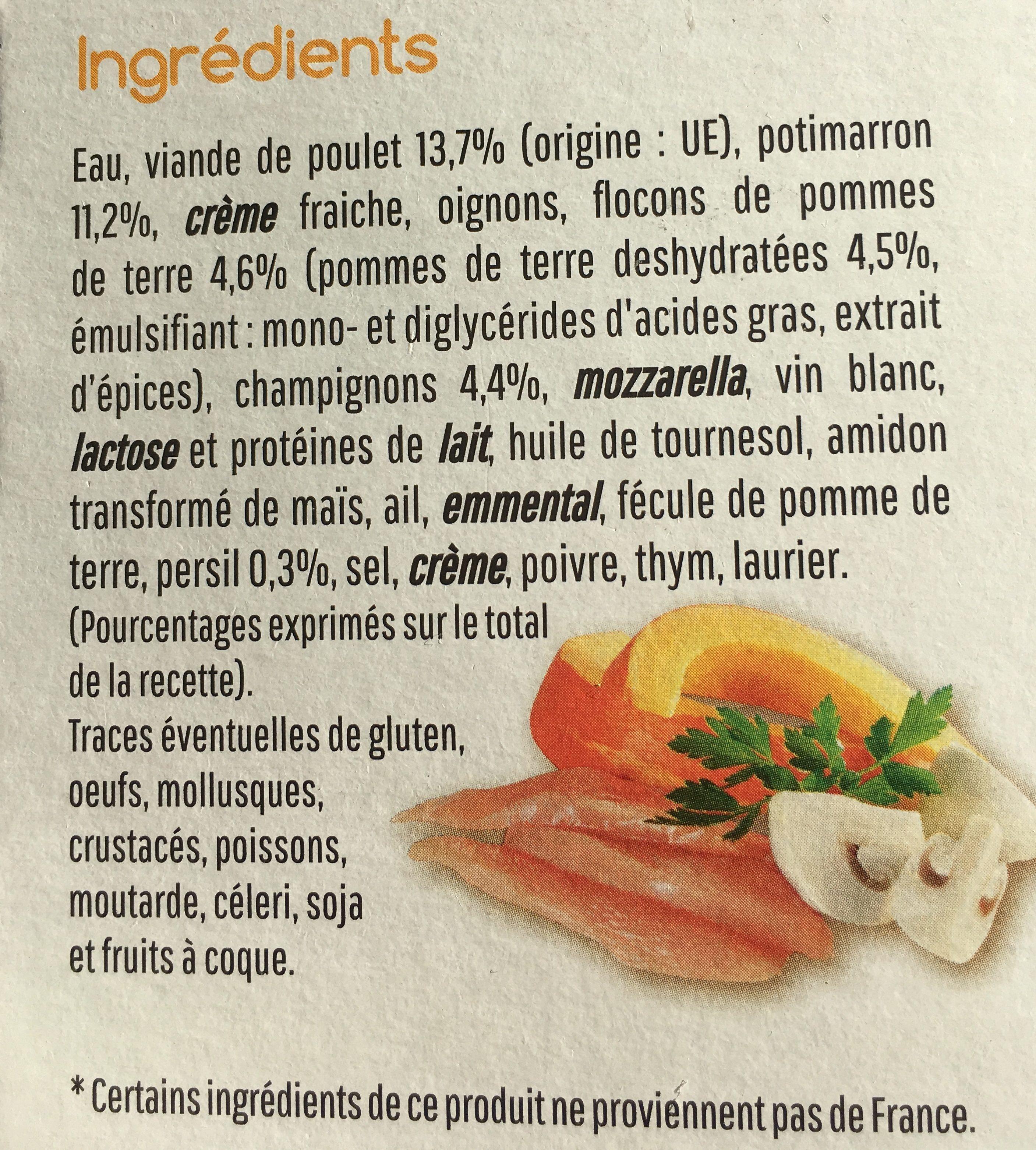 Mon parmentier Potimarron et poulet - Ingrediënten - fr
