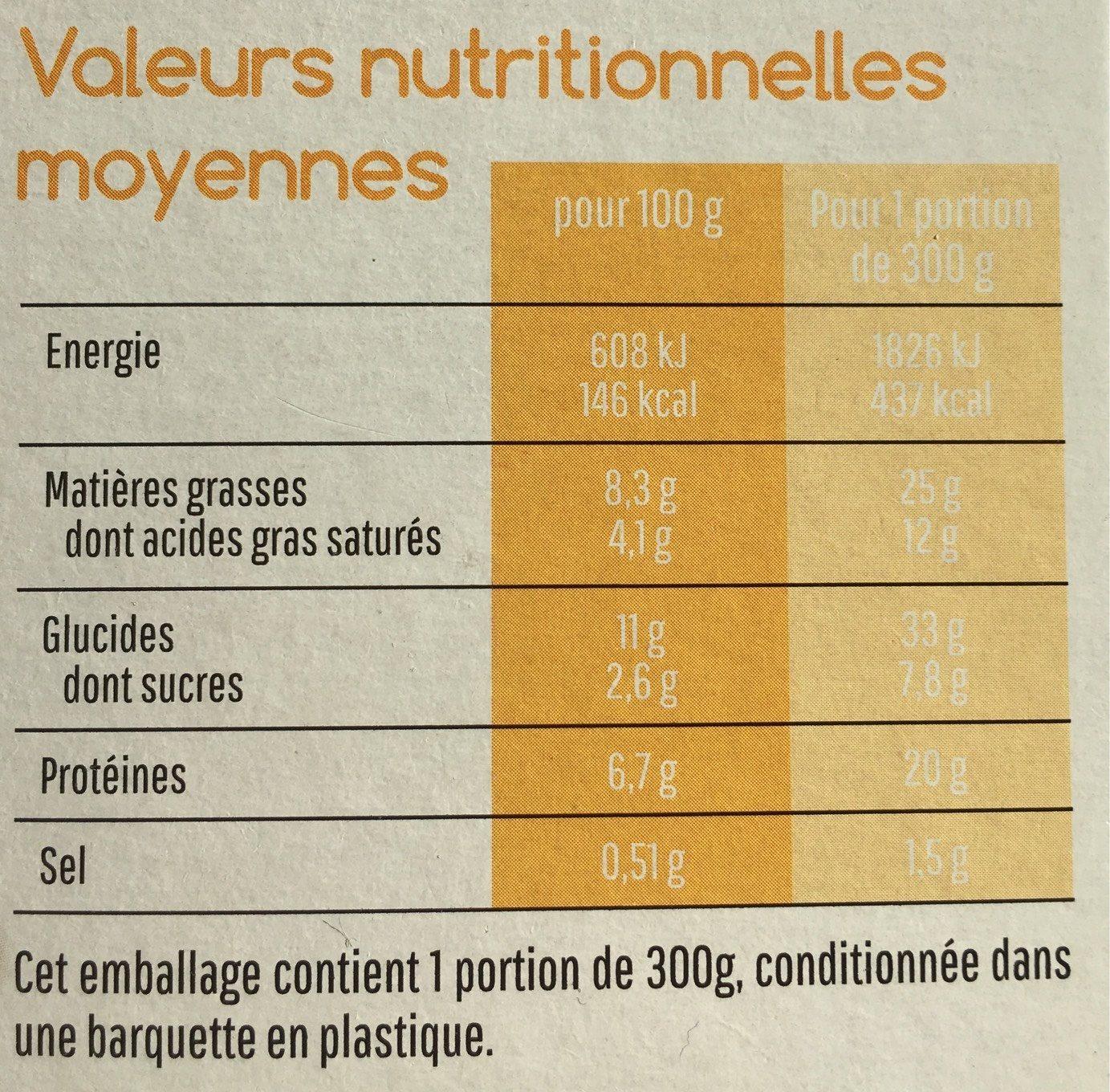 Mon parmentier Potimarron et poulet - Voedingswaarden - fr