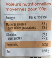 Ma Tarte à la Bourbonnaise - Nutrition facts