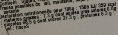 Croquets du Berry - Nutrition facts