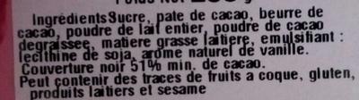 Chocolat chaud à la française - Ingrédients
