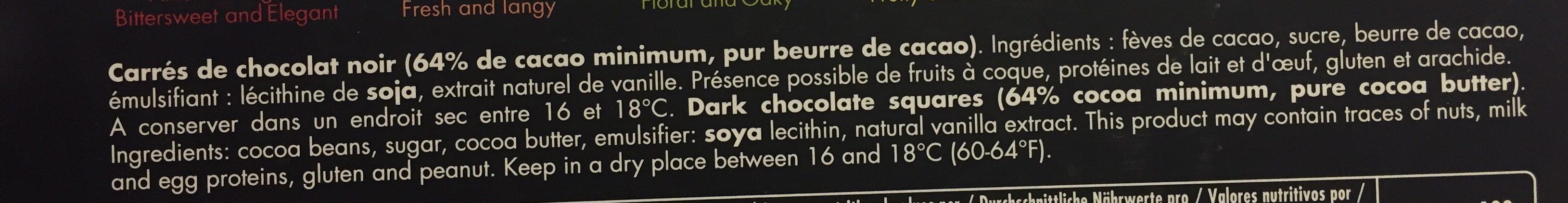 66 Carrés De Chocolat Noir Collection Grands Crus - Ingredients