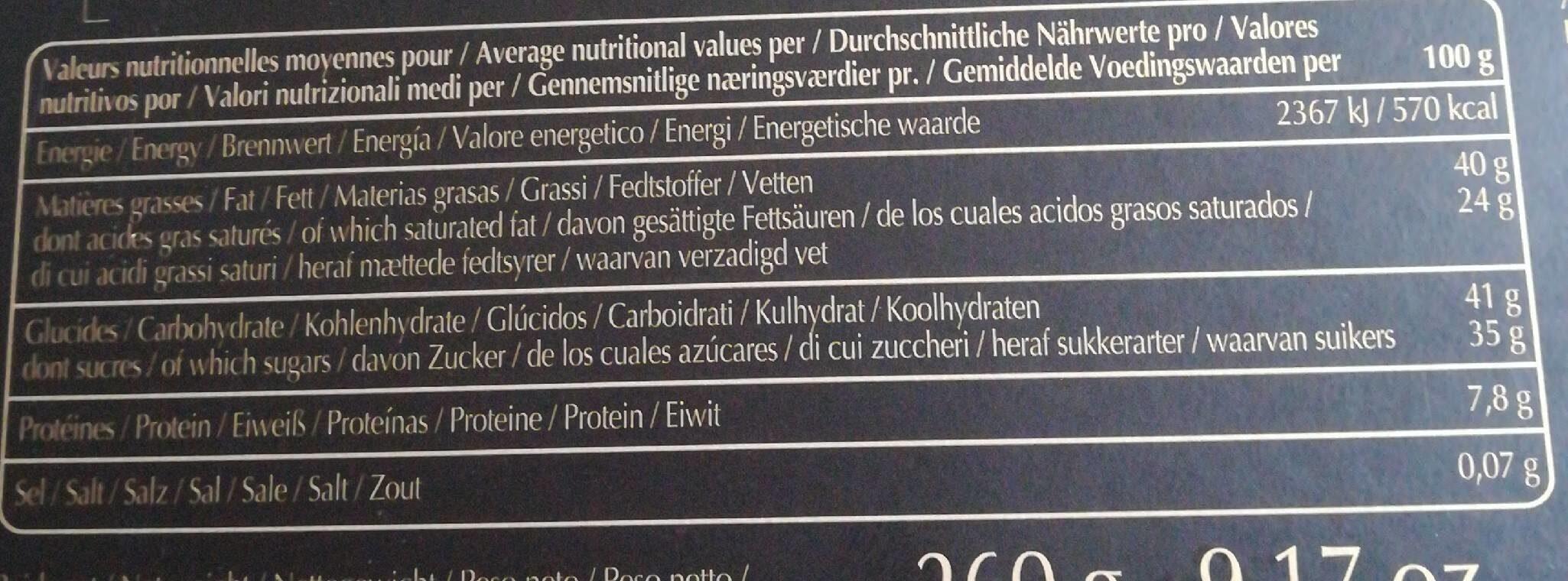 Valrhona - Les Coffret Degustation Grands Crus - Decouverte - Informations nutritionnelles - fr