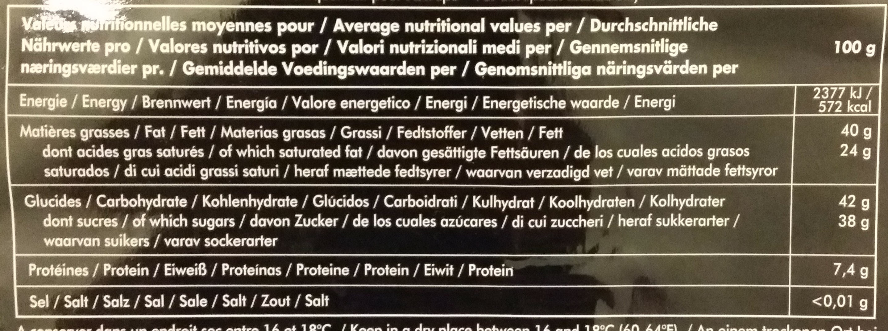 Le noir 61 % cacao - Nutrition facts - en