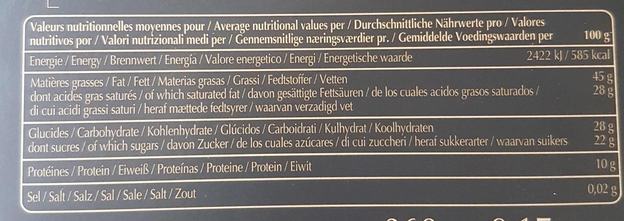Chocolats grands crus intense - Voedingswaarden - fr