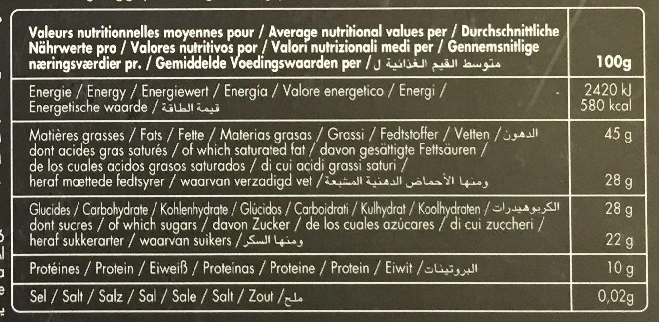 Chocolats grands crus intense - Voedingswaarden