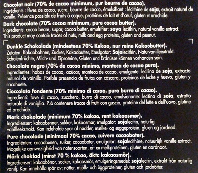 Noir Guajana for baking 70% cocoa - Ingredients