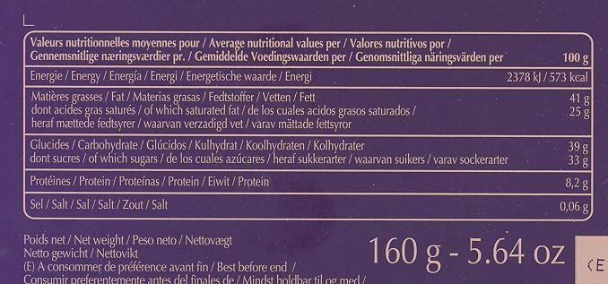 32 Carrés De Chocolat Noir Et Chocolat Au Lait - Dégustation Grands Crus - Informations nutritionnelles - fr