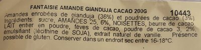 Amande cacao - Ingrédients