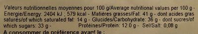 Amande cacao - Informations nutritionnelles - fr