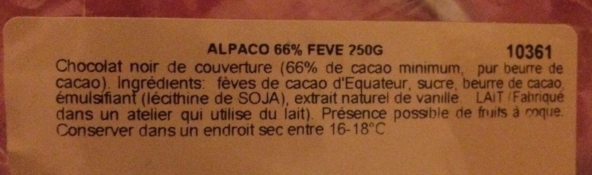 Alpaco - Ingrédients - fr