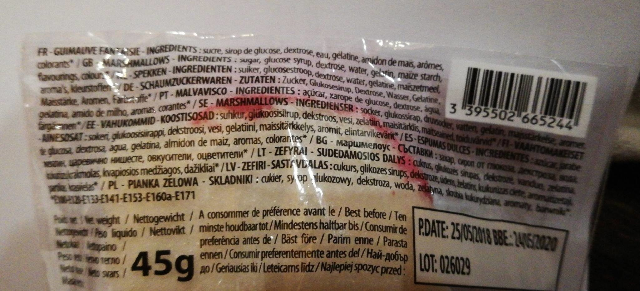 Fizzy Mas Mallow Pop - Ingrédients