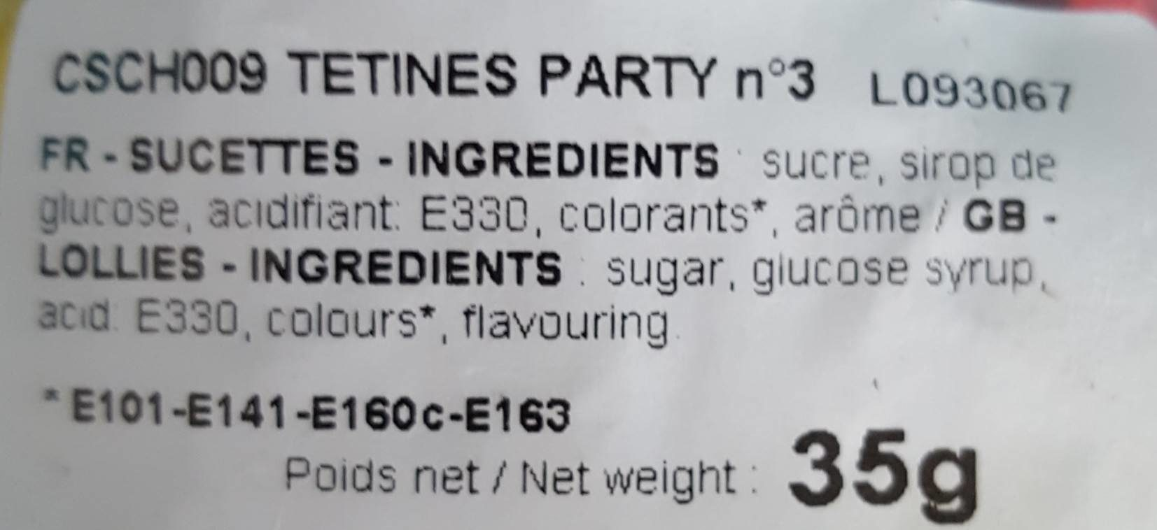 Tetines party - Ingrédients - fr