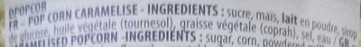 Pop Corn Caramel - Ingrédients
