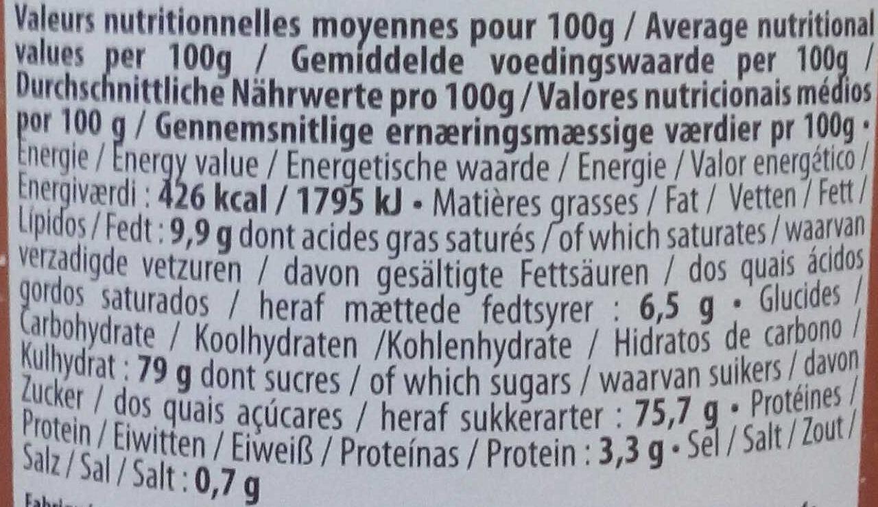 Pop Corn Caramel - Informations nutritionnelles