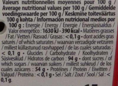 Bon Bombz - Informations nutritionnelles