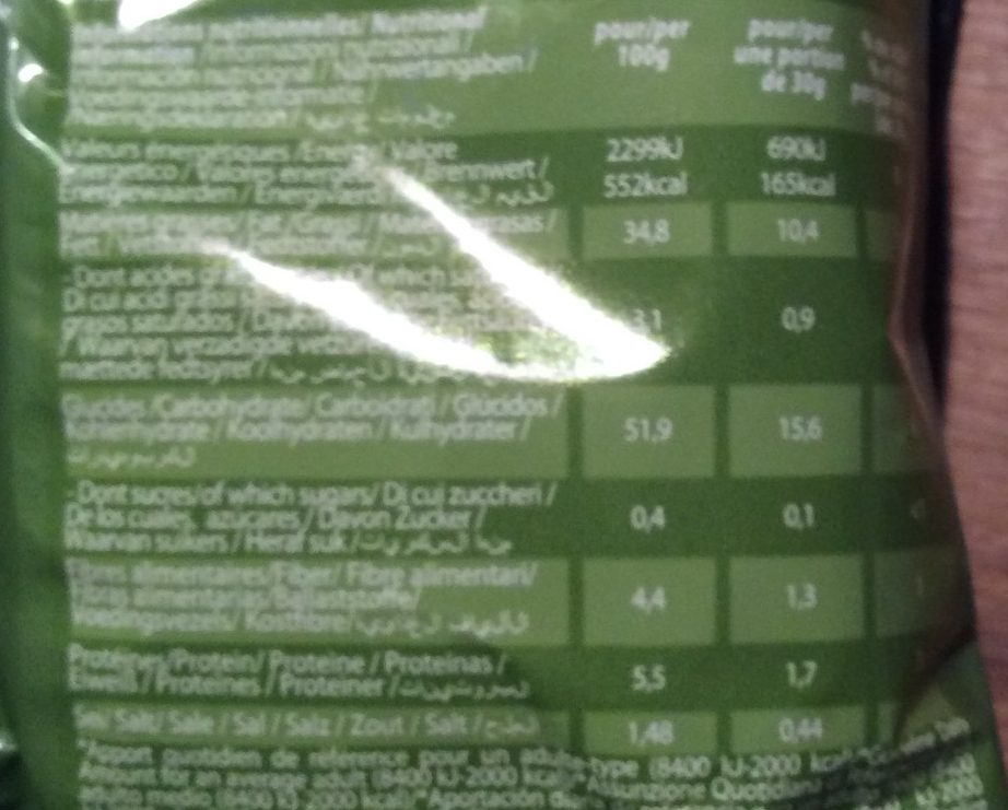 Chips craquantes saveur Ail&olives - Informations nutritionnelles - fr
