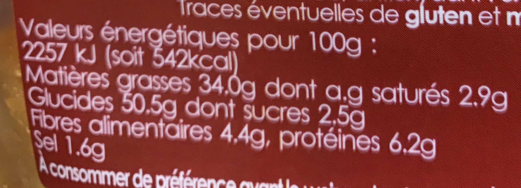 Chips saveur Barbecue - Informations nutritionnelles