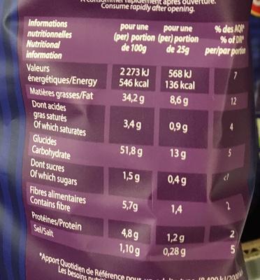 Chips bleues pommes de terre Vitelotte - Valori nutrizionali