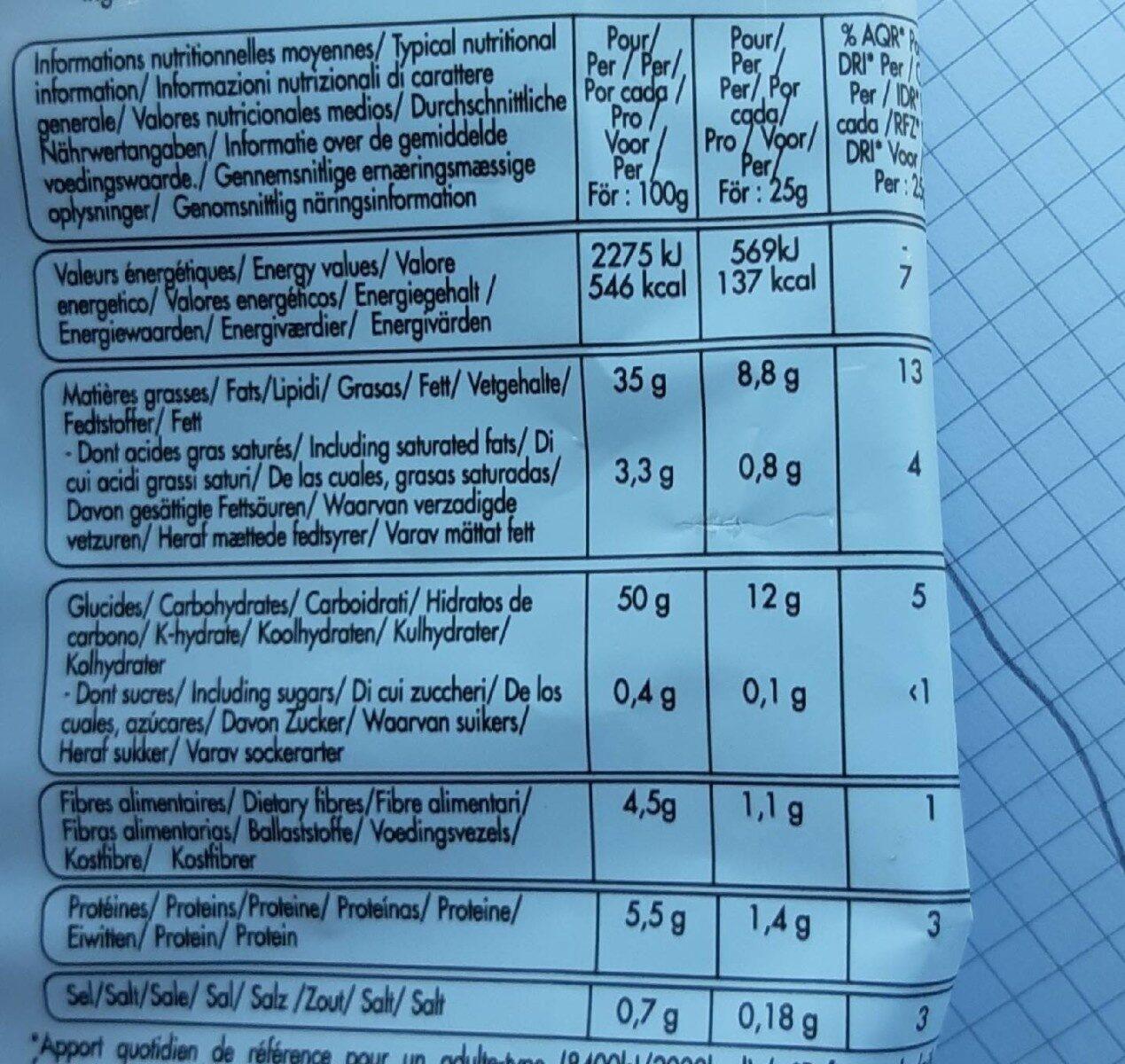CHIPS BIO ONDULEE ALLEGEE EN SEL - Informations nutritionnelles - fr