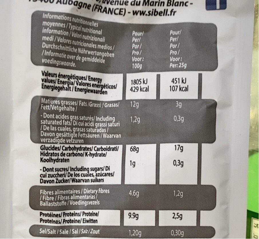 Crackers - Informations nutritionnelles - fr