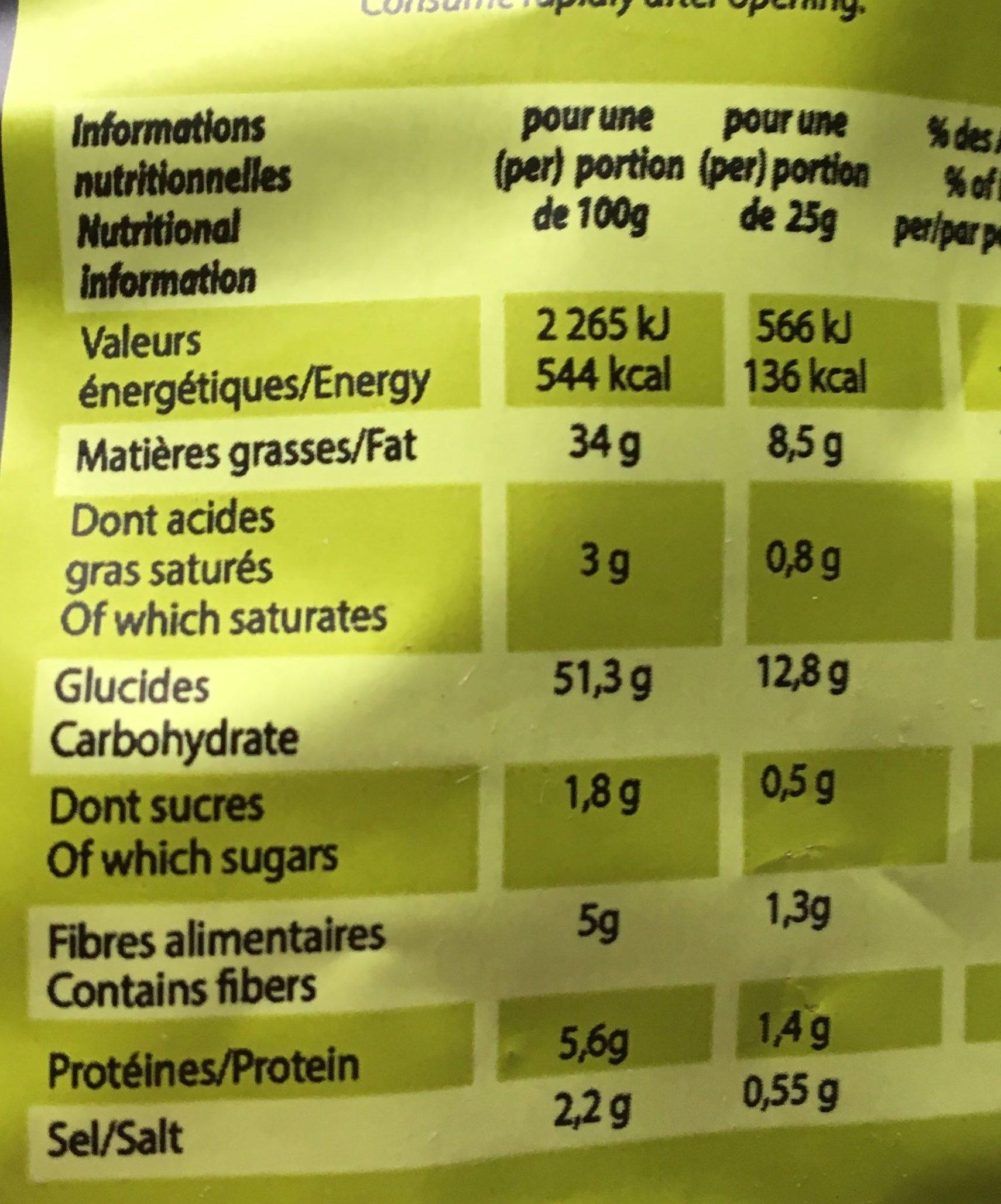 Chips saveur wasabi - Voedingswaarden