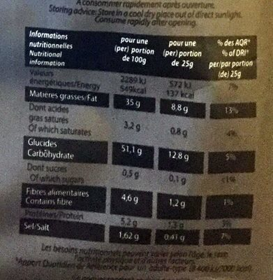 Chips saveur Truffe - Nutrition facts - fr