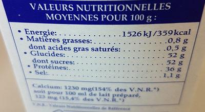 Bonneterre poudre de lait écrémé - Informations nutritionnelles - fr