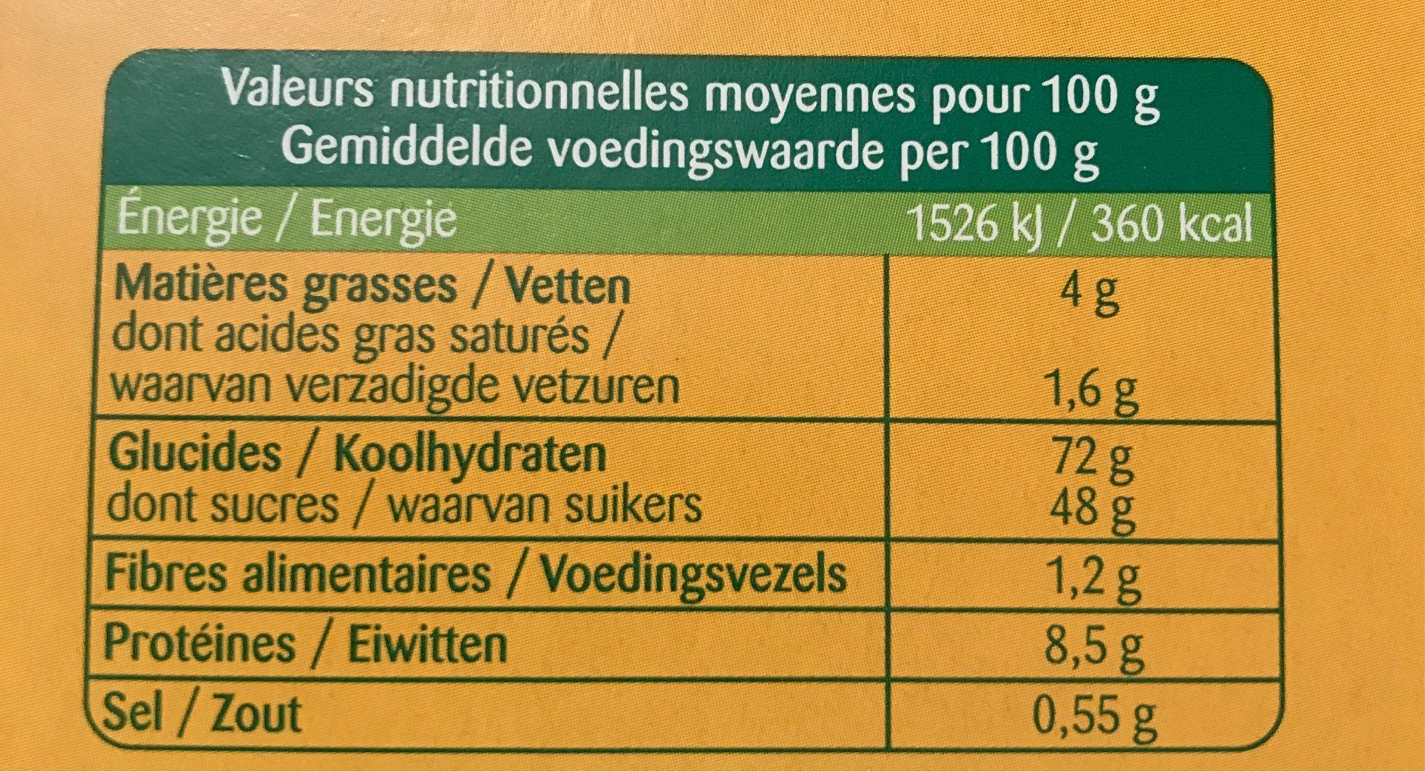 Biscuits à la cuillères - Voedingswaarden - fr